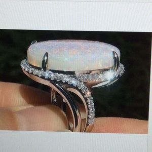 Jewelry - 925 Silver White Fire Opal Ring.